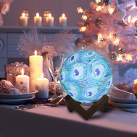3D Moon Light LED Night Light Creative Peacock Feather colorful table lamp touch remote control Bedroom Decor Night Lamp
