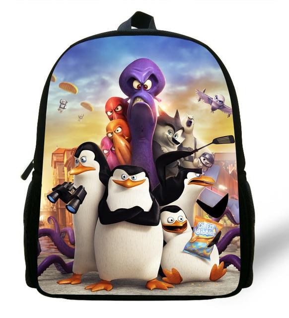 5b7582ccec14 12-inch Mini Kids Bag Boys The Penguins of Madagascar Bag Printing Aged 1-6  Backpack Children School Bags Mochilas Infantis