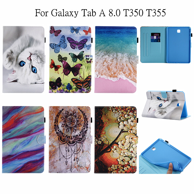 Case For Samsung Galaxy Tab A 8.0 PU Leather Flip Cover Lovely Patterns For Samsung Galaxy Tab A 8.0 T350 T351 T355 Tablet Cases