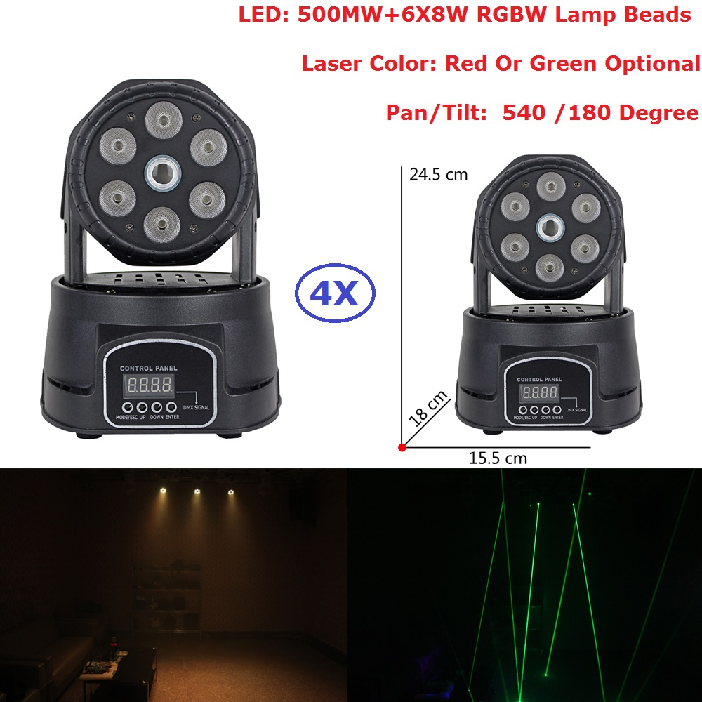 4 Unit LED Moving Head Laser Light 6X8W RGBW Quad Color LED Wash Lights With 16/11 DMX Channel For Party Wedding Nightclubs 6pcs lot good quality 7 12w mini rgbw led moving head light laser christmas party lights 12 months warranty