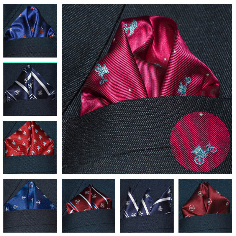 3 Pieces/lot Men Pocket Square Character Fashion Animal Print Pocket Hanky Handkerchiefs 25*25cm 17Styles