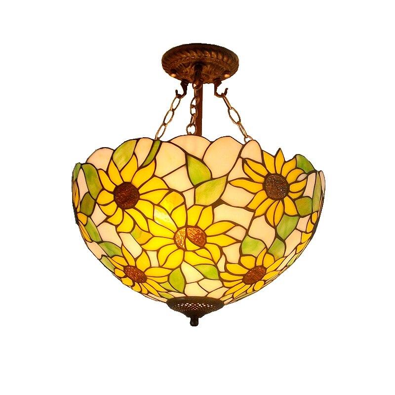 40 см Подсолнух желтое стекло Тиффани анти спальня с люстрами, гостиной лампы США французский бар вход освещение - 5