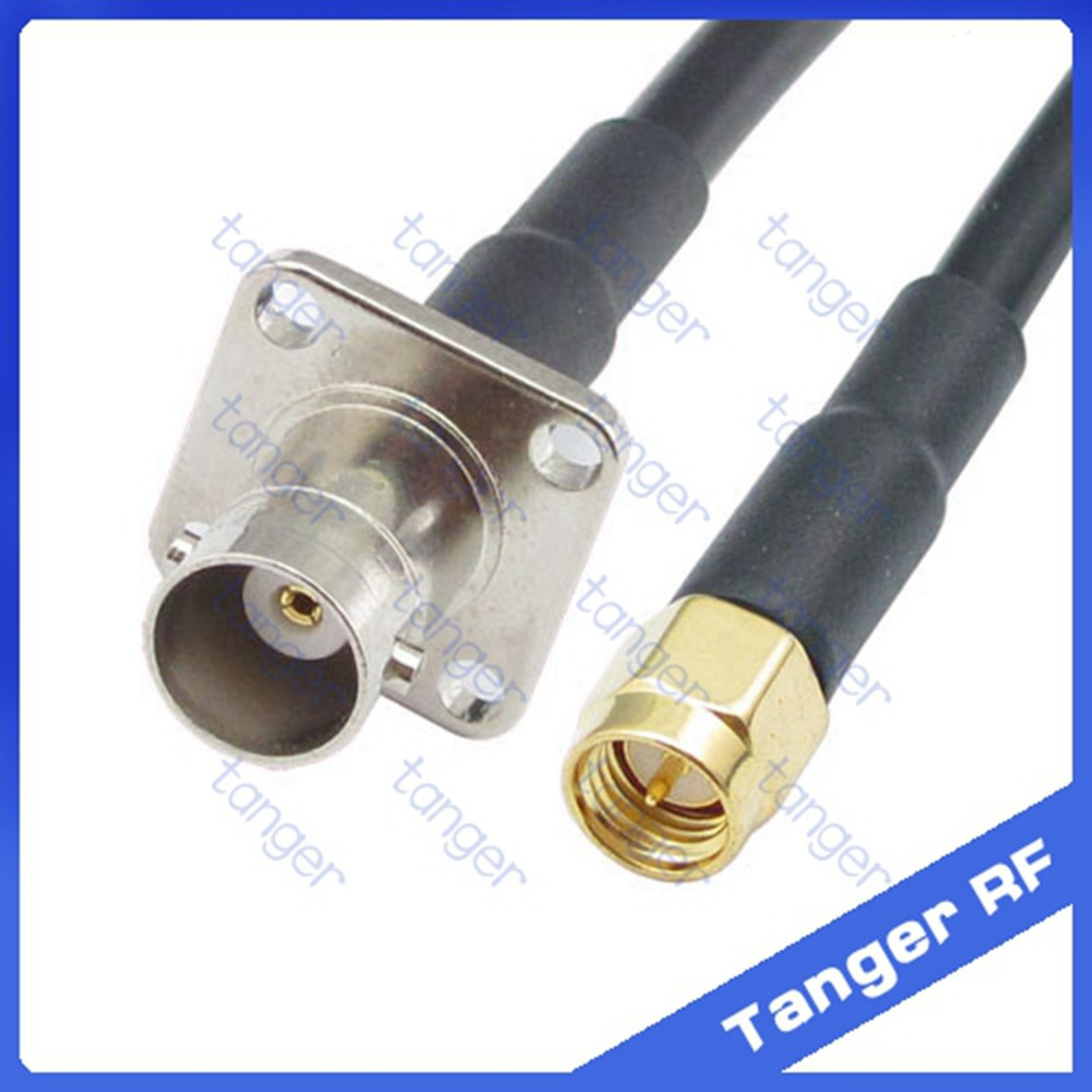 Hot sale Tanger BNC female jack 4four hole panel to SMA male plug straight RF RG58 Pigtail Jumper Coaxial Cable 20inch 50cm русский гамак rg 20 материал канвас полоска 4