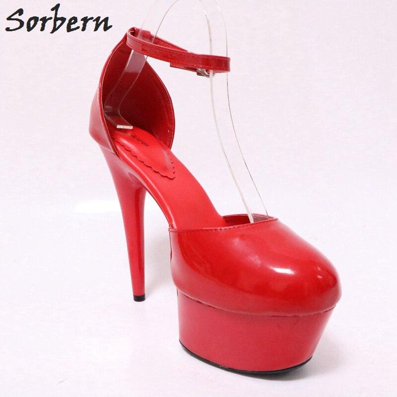 Haute Mode Dames Réel Chaussures Sorbern Taille Cm Cheville Rouge Bout Pompe Bride 15 Rond Mignon forme Photo À 43 Femme Talons La Plate USPZUnq