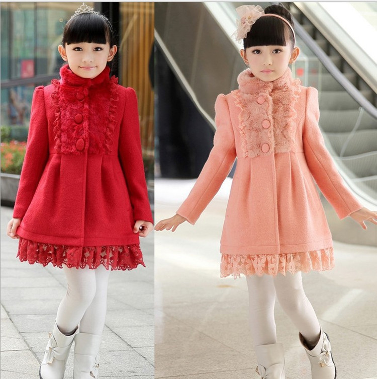 2016 Winter New Children's Stand Collar Woolen Overcoat, Girl's Jacket, Girl's Winter Coat Trench rose print voile splicing stand collar zip up jacket
