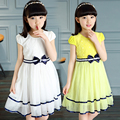 Vestuário 2017 meninas do verão vestidos sólidos bow véu líquido de manga curta vestidos da menina do bebê para meninas roupa dos miúdos vestido de princesa