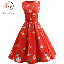 Women Floral Print Slim Vintage Casual Sleeveless Elegant Midi Christmas Party Dresses