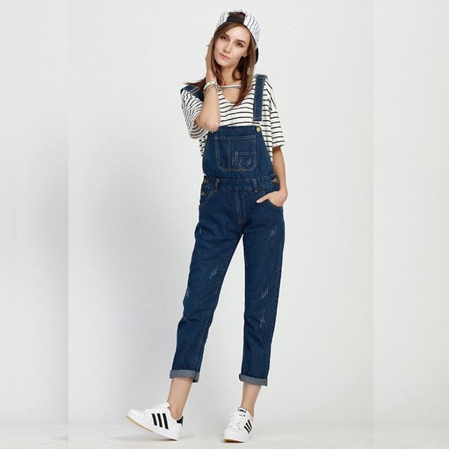 2af63fce98 2016 Spring Summer European Fashion Women Jumpsuit Denim Female Blue Casual Jeans  Jumpsuits For Lady 40-200kg Wear Freeshipping
