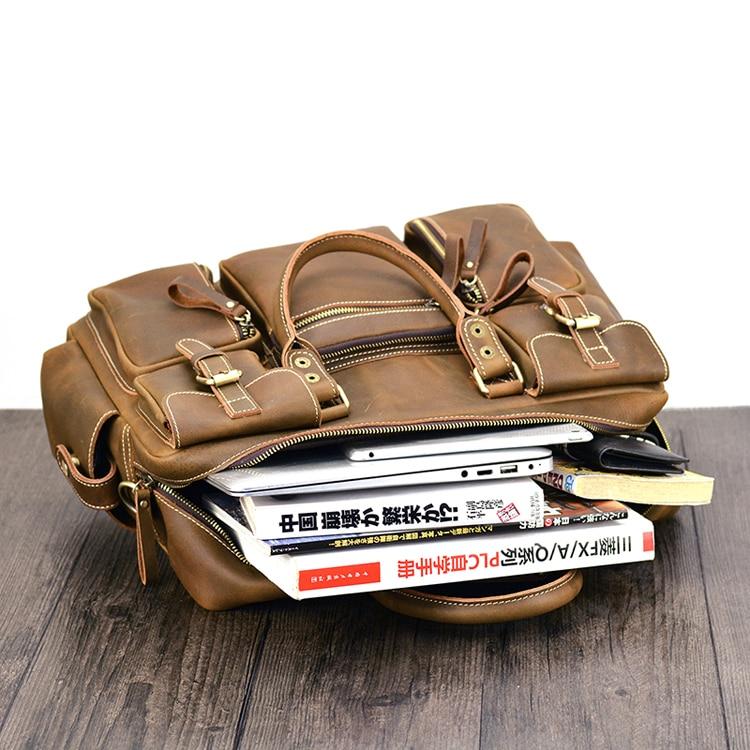 Mans Strap Yellow Tasche 2019 Hand Mit Aktentasche Natürliche Männer Business Aktentaschen Laptop Notebook Brown Maheu Schulter Neue Leder Mode TqPO08