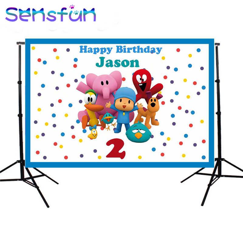 Festa de Aniversário dos desenhos animados Pocoyo Balão Colorido pano de Fundo a Fotografia Pano de Fundo Para Photo Studio Photo Booth Vinil 220x150 cm