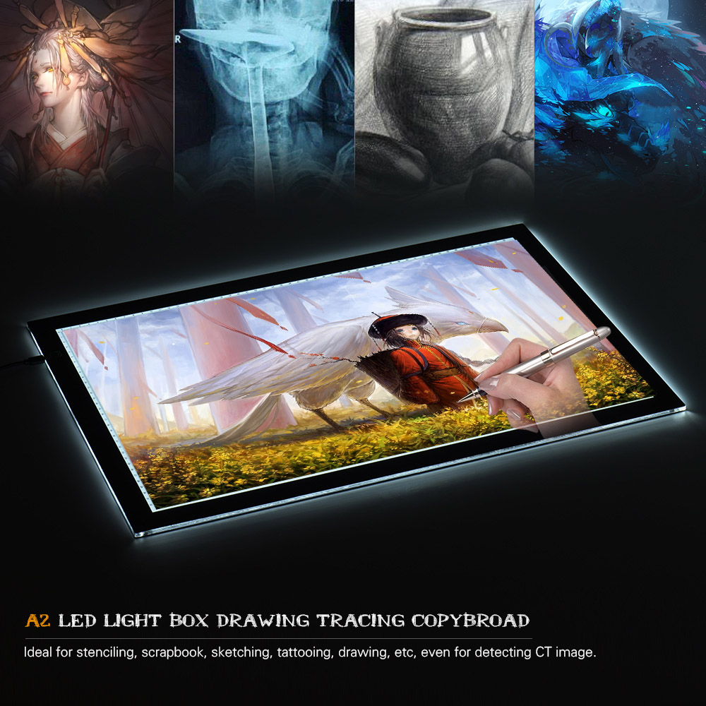 59cm A2 LED Light Box Drawing Tracing Tracer Copy Board Table Pad Panel Copyboard with USB