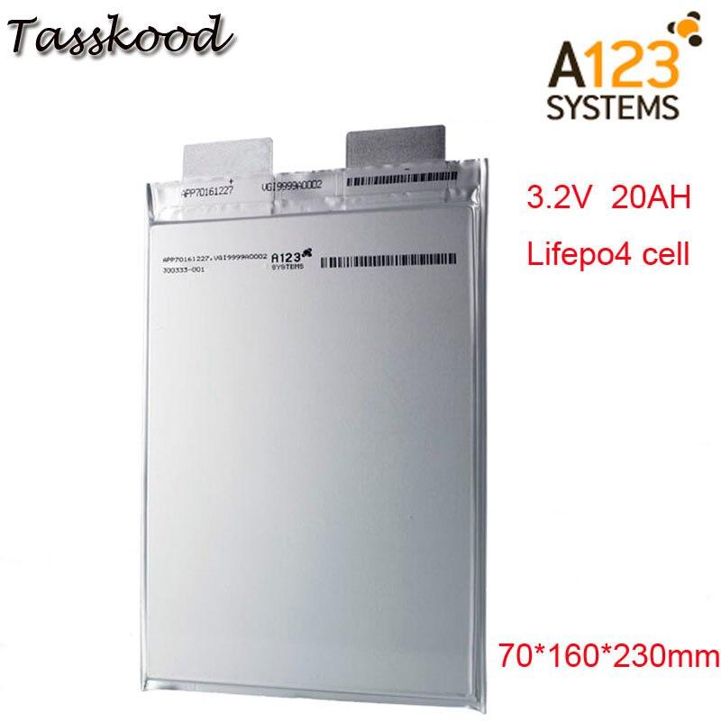 Aucune taxe Li polymère A123 lifepo4 batterie 3.2v 20000mah a123 20ah prismatique Lifepo4 utilisation de la batterie pour e-bike A123 3.2V