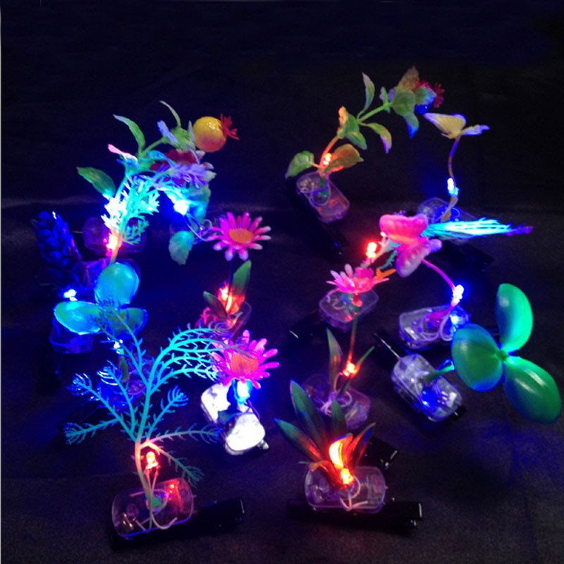 kids girl led flashing bean sprout bobby hairpin light up flower plant hair clips glow party supplies christmas navidad new year