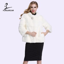 2017 New Fashion Women Whole Mink Real Fur Coat Autumn Winter Regular Style Slim Stripped Cut Outwears With Pockets BF-C0088