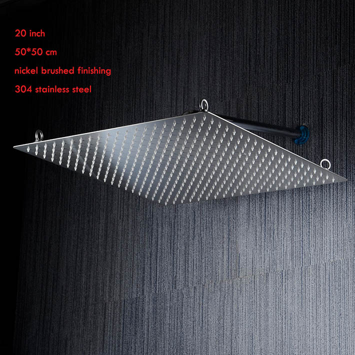 2015 new arrival 20 inch 50 50cm ultra thin water saving shower head rainfall showerhead 304