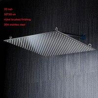 Vender 2015 nueva llegada 20 pulgadas 50*50 cm cabezal de ducha ultra delgado ahorro de agua/cabezal de ducha de lluvia 304 SUS espejo/cepillado de níquel