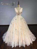 مذهلة الخامس الرقبة فستان زفاف 2018 حجم الكرة ثوب عارية الذراعين الترتر الديكور متألقة بثوب الزفاف مخصص
