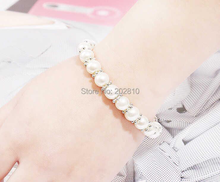 {Biała perła (8mm) akcesoria śnieżynka bransoletka z koralików, najlepiej sprzedająca się moda świąteczna bransoletka biżuteria dla 2019 grzywny quanlity