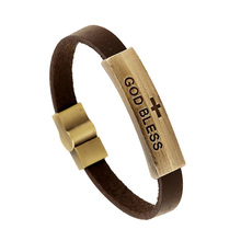 2017 New Cross God Bless Letters Leather Bracelet Brown Charm Bracelets Men Jewelry Magnet Clasp Bracelets&Bangles Gifts FS090