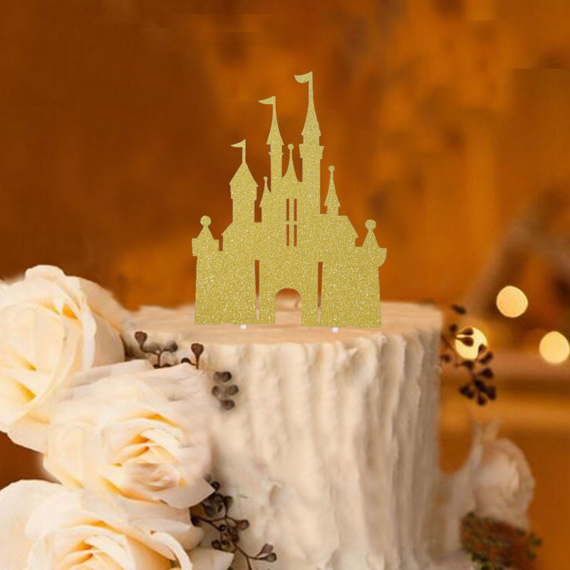 Tale Castle Shaped Birthday Cake Toppers Children Kids Dream Party Decoration Baby Birthday Party Cake Topper 3006