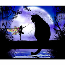 5D DIY Diamond Painting Cat Cross Stitch Black  &Butterfly Fairy  Stick Drill Draw 3D Square Full  Embroidery inverted purple butterfly print draw diamond drawing