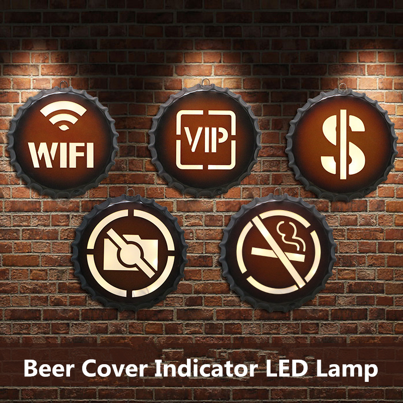 American Retro Metal Sign Beer Cover Round LED Indicator Bar Cafe Decoration Wall Hanging Vintage Neon Sign Creative home Decor