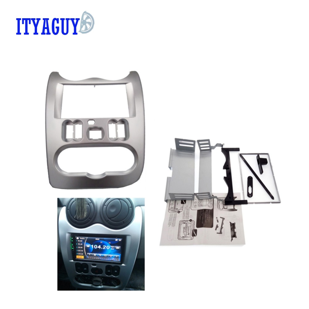 цены  High quality Car Radio Fascia for RENAULT Logan Sandero DACIA duster facia frame panel dash adapter CD trim Bezel facia