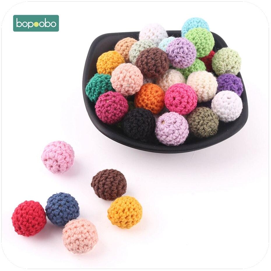 Bopoobo 10pc Baby Nursing Teething Crochet Beads Chewable Beads DIY Jewelry Nursing Accessories Gehaakte Toy Baby Teether 16mm