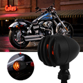 2 Pcs Motorcycle Turn Lights Signal Indicator Mini Bullet Blinkers Lights For Harley Chopper Bobber Honda Yellow/Red