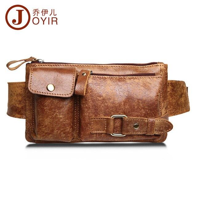 JOYIR Genuine Leather Waist Bag Bumbag Unisex Fashion Belt Bags Male Fanny Pack Small Waist Pack Man Crossbody Shoulder Bag