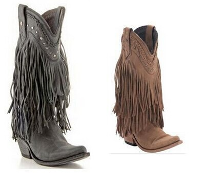 Women Suede Leather Gladiator Middle Boots Flat Thick Heel Fringe Riding Boots Slip-on Red Brown Tassel Boots Drop Ship hot selling chic stylish black grey suede leather patchwork boots mid calf spike heels middle fringe boots side tassel boots