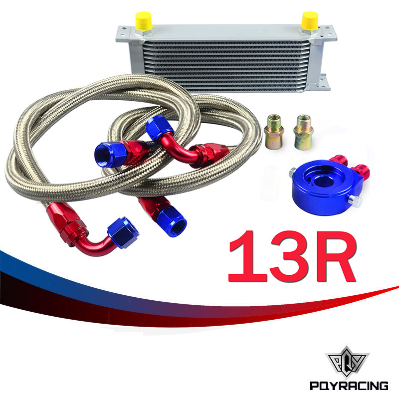 PQY RACING- AN10 OIL COOLER KIT 13RWOS TRANSMISSION OIL COOLER SILVER+OIL FILTER  ADAPTER BLUE + STAINLESS STEEL BRAIDED HOSE pqy store an10 oil cooler kit 25rwos transmission oil cooler silver oil filter adapter blue pqy3825b