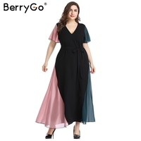 BerryGo women long dresses Elegant deep v neck plus size dress for Women Sexy female long maxi summer vetidos Party dress 2019