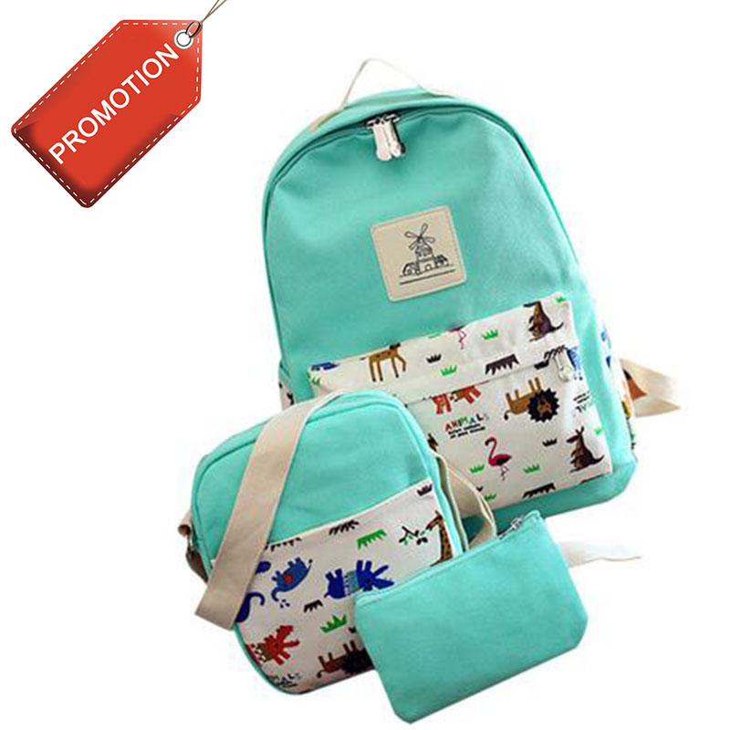 Women Backpack 3 Pcs Set Canvas Printing big girl student book bag  Casual School Bags For Teenage Girls High Quality Backpacks 4 pieces set of summer women canvas backpack girl student lace book bag with high quality backpack child juvenile bag