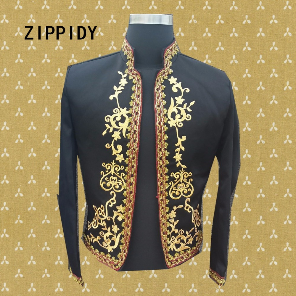 Gold Embroidery Floral Decorate Men Black Palace Jacket Costume Nightclub Bar Singer Individuality Outfit Coat Prom Show Clothes
