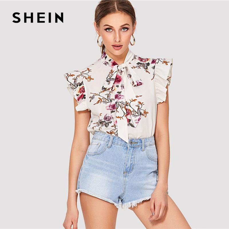 SHEIN Flora Drucken Fliege Neck Top Frauen Stehen Kragen Kleidung Sleeveless Rüschen Bluse 2018 Sommer Neue Wochenende Beiläufige Bluse