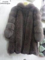 Linhaoshengyue Real fox fur coat with hood,long78cm