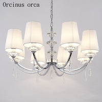 The Nordic Modern Crystal Chandelier Dining Room Bedroom Creative Minimalist White Crystal Chandelier Free Shipping