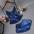 Женская Одежда На Лето Шорты Устанавливает V-образным Вырезом Пижамы Атласные Пижамы женские Пижамы Спагетти Ремень Кружева Sexy Пижамы Набор