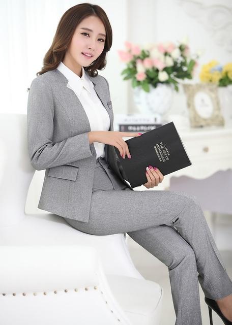 Novidade Cinza Pantsuits Formais Design Professional Business Suits Jaquetas E Calças Uniforme Escritório Senhoras Calças Conjuntos de Roupas
