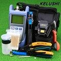 KELUSHI 18 pçs/set FTTH Tool Kit com Fibra Cleaver SKL-6C Optical Power Meter 1 mW Localizador Visual da Falha da Fibra Óptica Stripper