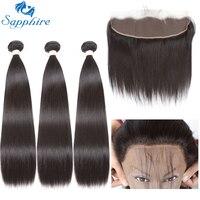 ספיר ישר רמי אנושי חבילות עם Frontals התחרה 1B # צבע לסלון שיער השיער הארוך ביותר יחס גבוה PCT 15% חלק חינם