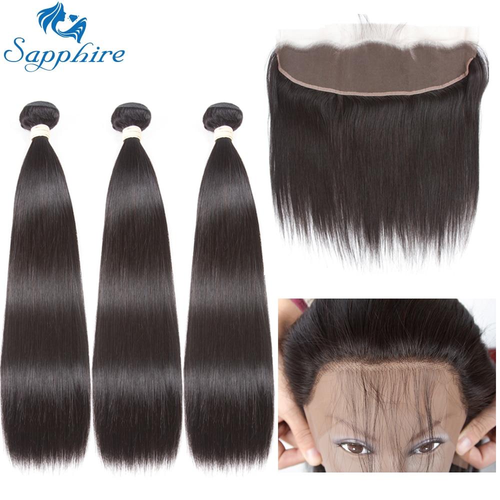 Сапфир бразильский пучки волос плетение прямые волосы Связки с фронтальной застежка человеческих волос пучки с закрытием волос