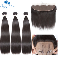 Sapphire Straight Remy Human Hair Bundles With Lace Frontals 1B Color For Hair Salon High Ratio