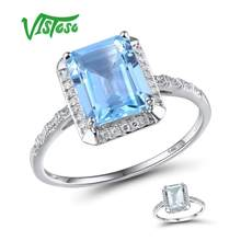 VISTOSO 14 K สีขาว 585 แหวน Shiny Diamond Limpid Blue Sky Topaz/สี(China)