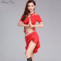 Belly bellydance sexy stage dance wear crop top new Women's belly dance set tribal belly dance ballroom dancing dresses Q350