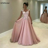 New Arrival Cap sleeve Pink muslim evening dress 2019 Lace Appliques A Line long dresses evening Party gowns formal dress