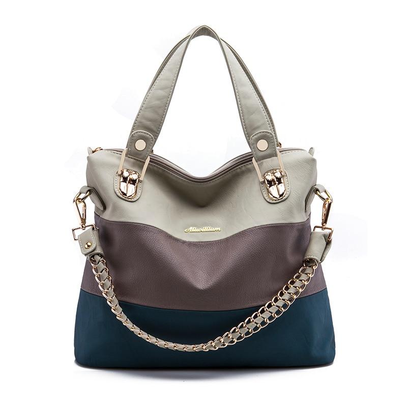Luxury Retro zipper Women Handbag PU Leather Hobo Shoulder Splicing three colors PU mixing design casual Messenger Bags