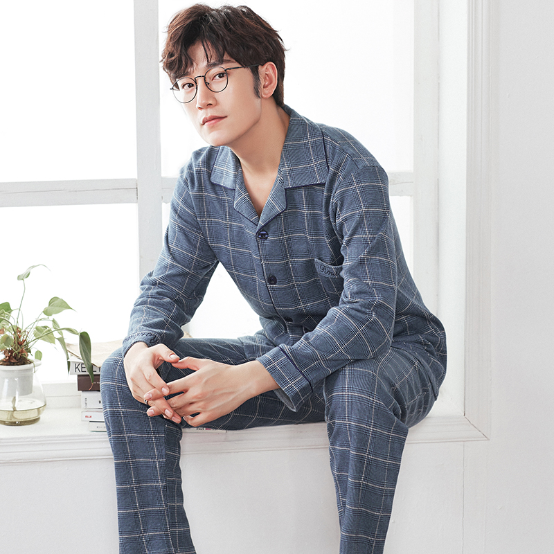 Yarn Weave 100% Cotton Pajama Set For Men Comfy Sleepwear Pajamas Mens Sexy Modern Style Soft Cozy Plus Size Nightgown Pyjamas