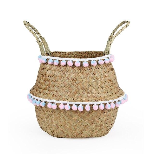 Dobrável cesta de algas tecelagem de vime pendurado cesta de vime vaso de flores do jardim vaso de flores cesta de armazenamento